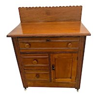 Antique Cabinet Dresser Vanity Commode Civil war era halfmoon post joints