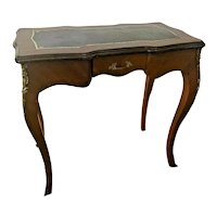 Antique 19th Century French Writing Desk Leather top Vanity Petite size Drawer