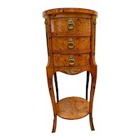 Antique French Round Bedside Chest Night Stand Side Table Burlwood veneer petite