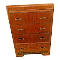 Art Deco Waterfall Highboy Dresser Cedar Drawers Brass pulls and Amber bakelite