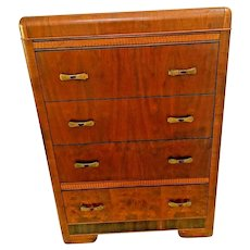 Art Deco Waterfall Highboy Dresser Cedar Drawers Brass pulls and Amber bakelite