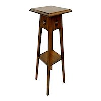 Vintage Mission style Table with shelf Plant Stand solid Oak Jardiniere