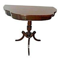 Vintage Demilune Console wall Table Tri leg pedestal base Solid Mahogany