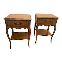 Vintage French Country Matching Bedside Tables Night Stands bottom shelf drawer