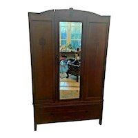 Antique Dark Oak Wardrobe Closet beveled Mirrored Center Door carved two piece