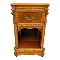 Antique Italian Side Table with drawer and bottom shelf carved solid walnut