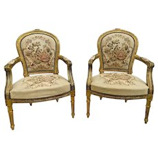 Antique Arm Chairs Mahogany Gold Gilt Frame Hand Embroidered Seat and Back