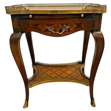 Vintage FRENCH Side Table with drawer and bottom shelf Writing pull out Ormolu