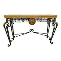 Vintage Maitland Smith Sofa Table Italian Style Lion Themed solid Iron legs
