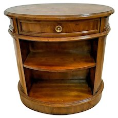 Vintage Oval Side Table with drawer front and back shelves By Heritage Furniture