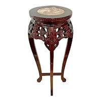 Vintage Chinese Chippendale Tall Plant stand Marble top Carved wood Red Lacquer 1A