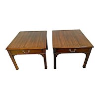 Vintage Pair of Henredon Side Tables Nightstands single drawer matching set