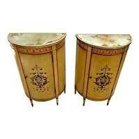 Vintage Pair of Imperial Tables Nightstands Italian Cabinets half circle set