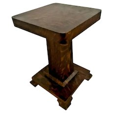 Vintage Mission Arts and crafts style Bust Plant Stand Faux Tiger Oak Veneer