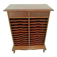 Antique File Organizer Bookcase with two top drawers Hand crafted Mahogany