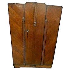 Art Deco Wardrobe Closet Tiger Oak Interior Mirror three hangar rods and hooks
