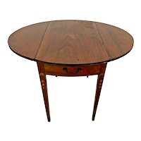 Antique Victorian Pembroke Table Hand crafted Drop Sides solid Walnut leg Inlays