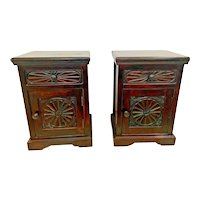 Vintage Pair Matching Cabinets Nightstands Bedside Chests carved Drawer door