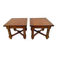 Vintage Salem House Pair of Nightstands Lamp Tables Barley twist legs inlays