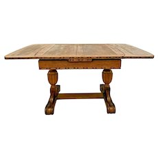 Oak Refectory Table Italian Fluted Pedestal Legs drop down hidden draw leafs