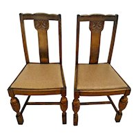 Antique Italian Pub Chairs Solid Oak set of two original finish leather seat
