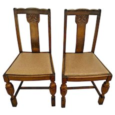 Antique Italian Pub Chairs Solid Oak set of two original finish leather seat