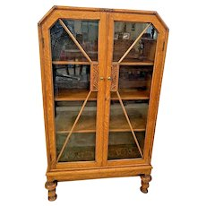 Art Deco Bookcase Double Door Locking curio china cabinet Oak three shelves