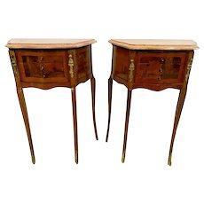 Antique French Matching Bedside Chests Night Stands Side Table Marble top petite