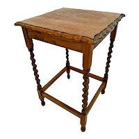 1509Antique Table Tiger Oak Barley Twist Leg Pub style Scalloped Top Edges
