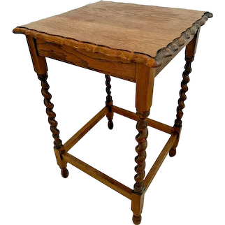 1509Antique Table Tiger Oak Barley Twist Leg Pub style Scalloped Top Edges