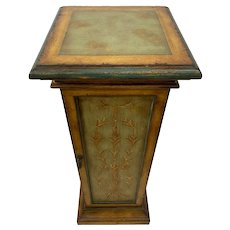 Vintage Square Column Tall Bust Plant Stand pedestal Wood Door with storage