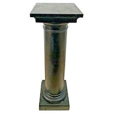 Vintage Round Column Tall Bust Plant Stand pedestal Wood Textured Black