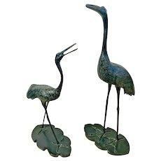 Bird Large Statue Sandhill Crane Animal Prop Life Size Pair Resin Yard House