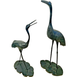 Bird Large Statue Sandhill Crane Animal Prop Life Size Pair Resin Yard House