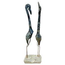 Mid Century Large Marble Flamingo Statue Pair Birds Metal Legs White stone base