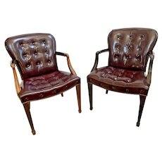 Hickory Furniture Arm Chairs Tufted Leather seat and back Burgundy Italian style