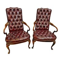 Hickory Furniture Gooseneck Arm Chairs Tufted Leather seat and back Burgundy