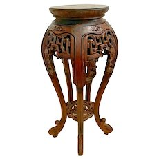 Antique Tall Plant stand French Polynesian Lattice Carved wood bottom shelf
