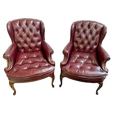 North Hickory Furniture Wingback Arm Chairs Tufted Leather seat Burgundy set
