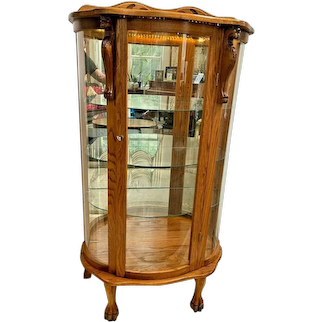 Vintage Locking China Cabinet Curio Lighted Curved glass Mirror three shelves