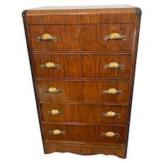 Vintage Art Deco Waterfall Highboy Dresser Bakelite golden shell Brass pulls