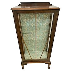 Art Deco Curio China cabinet Bookcase Locking Two Glass shelves Ball claw legs