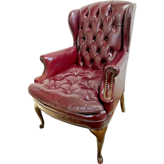Wingback Arm Chair North Hickory Furniture Tufted Leather seat Burgundy color