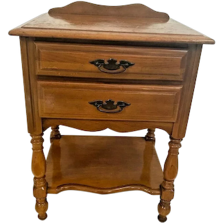 Vintage Maple Table with Two Drawers and bottom shelf Made by Sumter Cabinet Co.