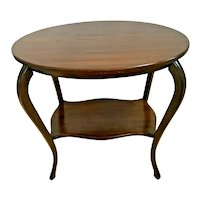 Antique Oval Table with bottom shelf two tier Solid Mahogany