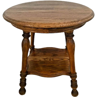 Vintage Round Table Thick Oak Top and bottom shelf