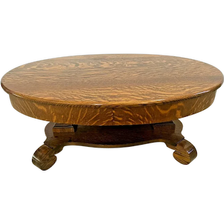 Antique Oval Coffee Table with Top Drawer Solid Tiger Oak bottom shelf