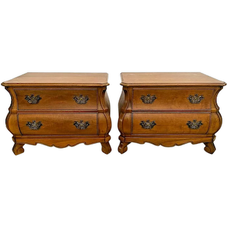 Vintage Pair of Henredon Nightstands French Bombay Tables two drawer chests