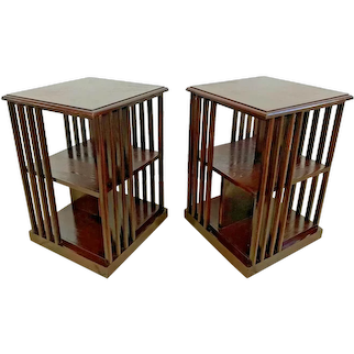 Vintage Pair of Nightstand Book shelves Lamp side Tables Four sided Two shelf table