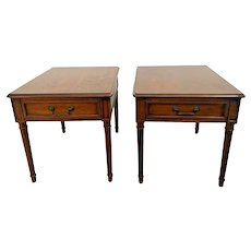 Vintage Pair of Henredon Side Tables Walnut Nightstands single drawer matching